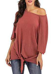 St. Jubileens Women's Casual 3/4 Sleeve Wrap V Neck Chiffon Blouses Tops Shirts (Coral Red, Small)