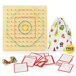 Wood Geo Board - Boys and Girls,Graphical Educational Mathematics Material with Rubber Tie and Cards, Preschool Kids Mathematical Brain Teasers, Early Learning Development DIY Toys for Toddler