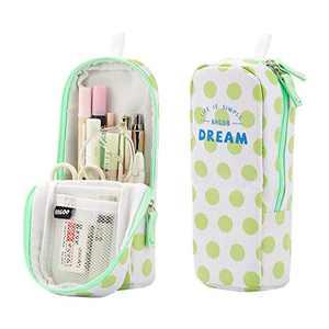 iSuperb Stand Up Pencil Case Canvas Pencil Holder Phone Holder Mobile Phone Bracket Function Desk Organizer Makeup Cosmetic Bag (Green dots)