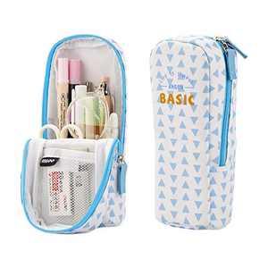 iSuperb Stand Up Pencil Case Canvas Pencil Holder Phone Holder Mobile Phone Bracket Function Desk Organizer Makeup Cosmetic Bag (Blue Triangle)