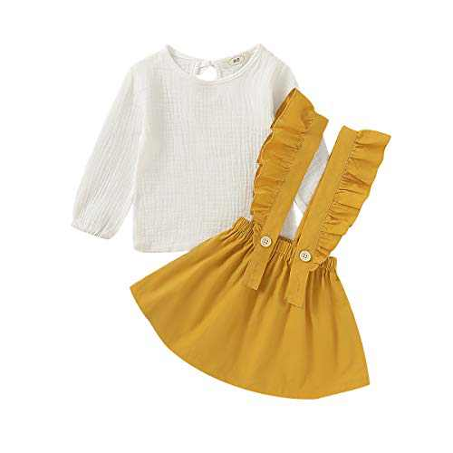 Kids Toddler Baby Girls Skirt Sets Long Sleeve Top + Ruffle Strap Suspender Dress Outfits Clothes (Yellow, 90(2-3T))