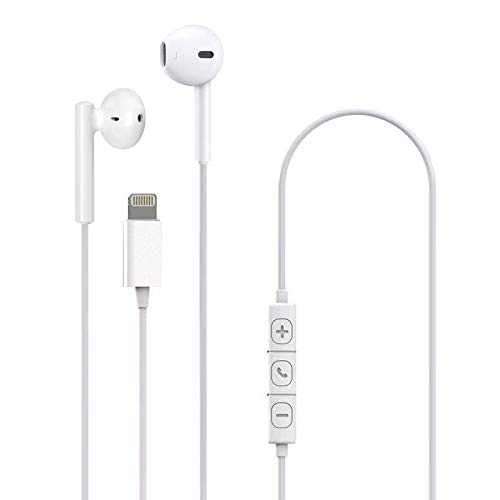 GOODBONG Bass Stereo Sound Headphones Compatible with iPhone 12 12Pro 12Pro Max/iPhone 11Pro iPhone X/XS Max/XR/iPhone8/8Plus/iPhone7/7Plus,MFi Certified Earbuds with Microphone Controller (White)