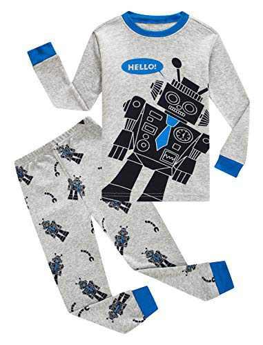 Family Feeling Little Boys Robot Pajamas 100% Cotton Pjs Toddler Kid 2T