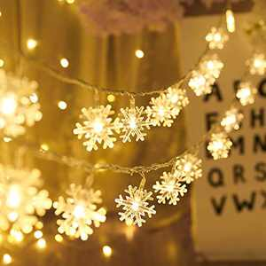 MILEXING Christmas Lights, Snowflake String Lights 19.6 ft 40 LED Fairy Lights Battery Operated Waterproof for Xmas Garden Patio Bedroom Party Decor Indoor Outdoor Celebration Lighting (Warm Color)