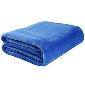 """LotFancy Fleece Throw Blanket, Twin Size, 60""""x80"""", Comfy Fuzzy Velvet Throw for Couch Bed Sofa Dorm Home, Cozy Plush Flannel Microfiber Blanket, Lightweight Blue"""