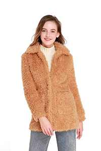 Elegant Faux Fur Coat Women 2021 Autumn Winter Warm Open Front Jacket Cardigan Overcoat Casual Outerwear (Style1-Brown, XL)