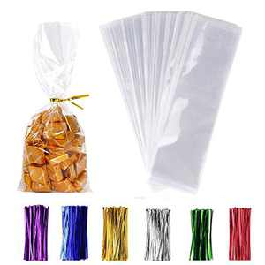 "200 Pack Clear Candy Bags 3''×11'' Clear Bakery Bags with 4"" Twist Ties 6 Mix Colors - Clear Candy Bags Thickness OPP Plastic Bags for Wedding Cookie Birthday Cake Candy (3''×11'')"