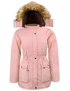 iLoveSIA Women's Hooded Warm Coats Thickened Parkas with Fuzzy Lining Light Pink G3 Size 10