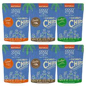 CocoGoodsCo Single-Origin Toasted Coconut Chips, Gluten-Free, Vegan, Non-GMO, Variety Pack, 3.5 Ounce Bag (6 count)