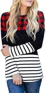 MK Shop Limited Women Buffalo Plaid Stripe Color Block Splicing T Shirts Long Sleeve Casual Round Neck Blouse Tops (1-Colorful, XL)