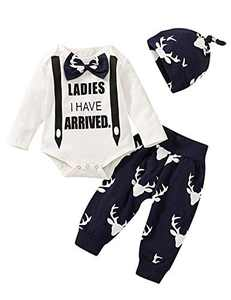 iCrazy Baby Boy Ladies I Have Arrived Clothing Set Infant Gentleman Bodysuit with Hat (White-Z25,3-6 Months)