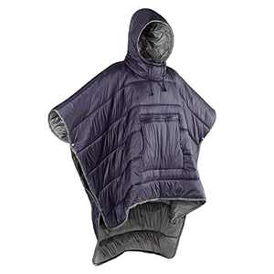 Gaorui Winter Poncho Coat Outdoor Camping Warmth Small Quilt Blanket Water-resisitant Sleeping Bag Cloak Cape with Hat for Adult Men Women