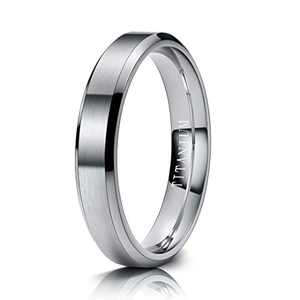 M MOOHAM Mens Wedding Bands Silver 4mm Titanium Rings Brushed Wedding Bands for Men Size 10