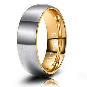 M MOOHAM Mens Wedding Bands Silver and Gold 6mm Titanium Ring Matte Brushed Wedding Bands for Men Size 9