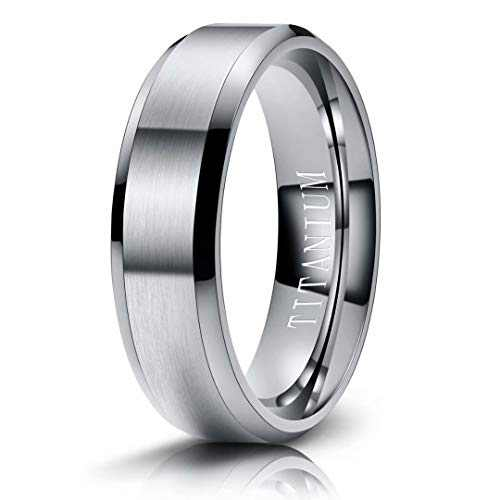 M MOOHAM Mens Wedding Bands Silver 6mm Titanium Rings Brushed Wedding Bands for Men Size 13