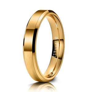 M MOOHAM Wedding Rings for Men Women, Titanium Ring Wedding Bands Gold 4mm for Him and Her Size 5 Comfort Fit