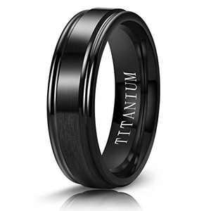 M MOOHAM 6mm Titanium Rings Black Mens Wedding Band Brush Center Step Edge Wedding Bands for Him Size 8