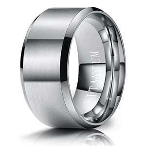 M MOOHAM Mens Wedding Bands Silver 10mm Titanium Rings Brushed Wedding Bands for Men Size 12