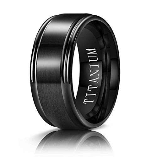 M MOOHAM 8mm Titanium Rings Black Mens Wedding Band Brush Center Step Edge Wedding Bands for Him Size 7