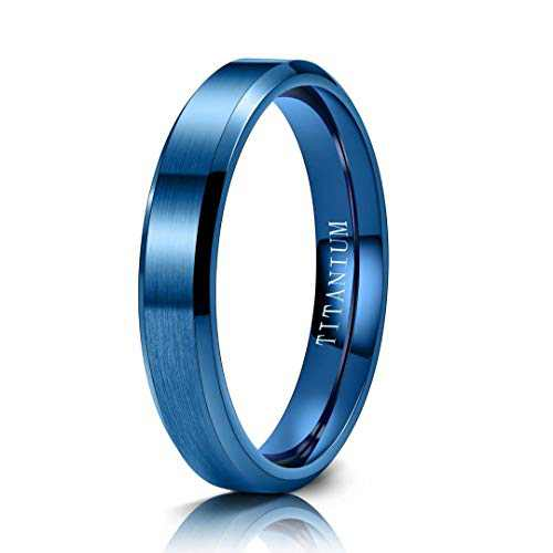M MOOHAM Mens Wedding Bands Blue 4mm Titanium Rings Blue Brushed Wedding Bands for Men Size 12, anillo para Hombre