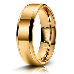 M MOOHAM Mens Wedding Bands Gold 6mm Titanium Rings Brushed Wedding Bands for Men Size 13