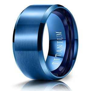 M MOOHAM Mens Wedding Bands Blue 10mm Titanium Rings Brushed Wedding Bands for Men Size 9