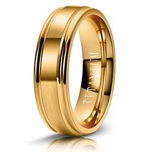 M MOOHAM 6mm Titanium Rings Gold Mens Wedding Band Brush Center Step Edge Wedding Bands for Him Size 5