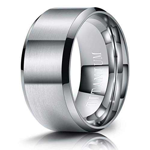 M MOOHAM Mens Wedding Bands Silver 10mm Titanium Rings Brushed Wedding Bands for Men Size 10