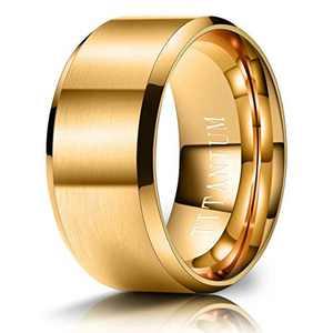 M MOOHAM Mens Wedding Bands Gold 10mm Titanium Rings Brushed Wedding Bands for Men Size 12