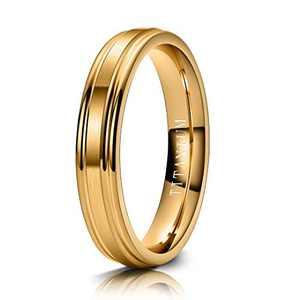 M MOOHAM 4mm Titanium Rings Gold Mens Wedding Band Brush Center Step Edge Wedding Bands for Him Size 11