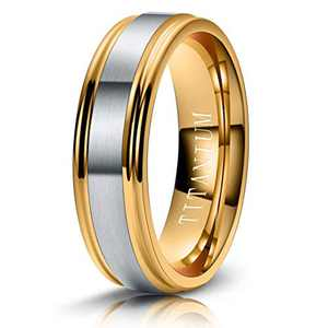 M MOOHAM 6mm Titanium Rings Silver and Gold Mens Wedding Band Brush Center Step Edge Wedding Bands for Men Size 5