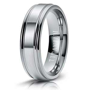M MOOHAM 6mm Titanium Rings Silver Mens Wedding Band Brush Center Step Edge Wedding Bands for Him Size 8