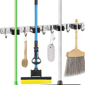 2 Pack Broom and Mop Holder Wall Mounted , Stainless Steel Broom Holder Wall Mount Heavy Duty Tools Hanger for Kitchen Bathroom Closet Office Garden with 2 Racks 3 Hooks (Black))