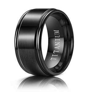 M MOOHAM 10mm Titanium Rings Black Mens Wedding Band Brush Center Step Edge Wedding Bands for Him Size 8