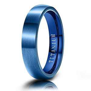 M MOOHAM Mens Wedding Bands Blue 4mm Titanium Ring Brushed Wedding Bands for Men Size 10
