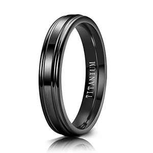 M MOOHAM 4mm Titanium Rings Matte Black Mens Wedding Band Brushed Center Step Edge Wedding Bands for Him Size 6