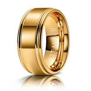 M MOOHAM 8mm Titanium Rings Gold Mens Wedding Band Brush Center Step Edge Wedding Bands for Him Size 13