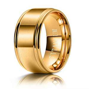 M MOOHAM 10mm Titanium Rings Gold Mens Wedding Band Brush Center Step Edge Wedding Bands for Him Size 13