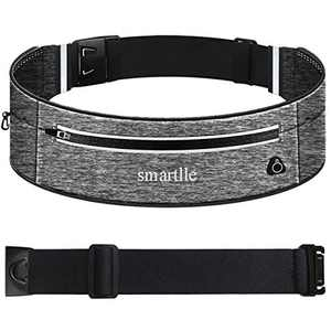 smartlle Running Belt, Fanny Pack, Adjustable Waist Pouch for iPhone 11 Pro XR XS MAX 8 Plus, Samsung Galaxy S/Note/A, Moto, All mobiles up to 6.7'', Fitness Workout Belt for Men & Women - Grey