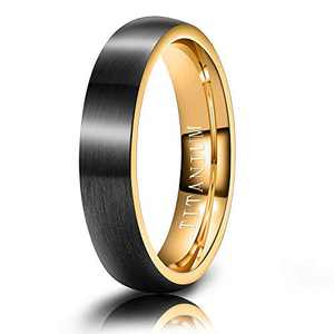 M MOOHAM Mens Wedding Bands Black and Gold 4mm Titanium Ring Matte Brushed Wedding Rings for Him Size 7