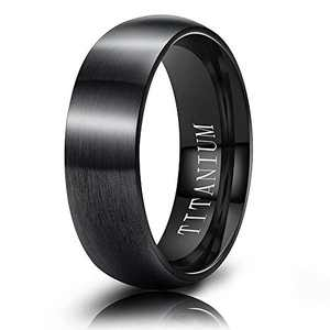 M MOOHAM Wedding Bands Black 6mm Titanium Ring Matte Brushed Dome Wedding Bands for Him Size 9