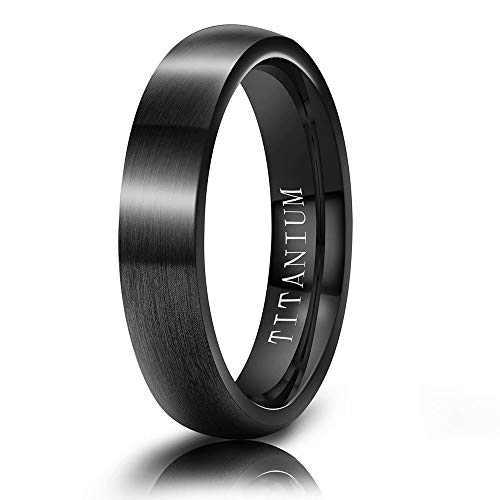 M MOOHAM Wedding Bands Black 4mm Titanium Ring Matte Brushed Dome Wedding Bands for Him Size 11