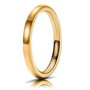 M MOOHAM Mens Wedding Bands Gold 2mm Titanium Ring Brushed Wedding Bands for Men Size 7
