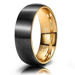 M MOOHAM Mens Wedding Bands Black and Gold 6mm Titanium Ring Matte Brushed Wedding Rings for Men Size 8