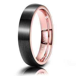 M MOOHAM Mens Wedding Bands Black and Rose Gold 4mm Titanium Rings Matte Brushed Wedding Bands for Him Size 6