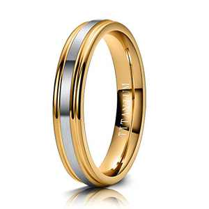 M MOOHAM 4mm Titanium Rings Silver and Gold Mens Wedding Band Brush Center Step Edge Wedding Bands for Men Size 9