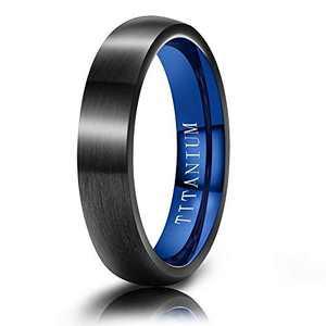 M MOOHAM Mens Wedding Bands Black and Blue 4mm Titanium Ring Brushed Wedding Bands for Men Size 9