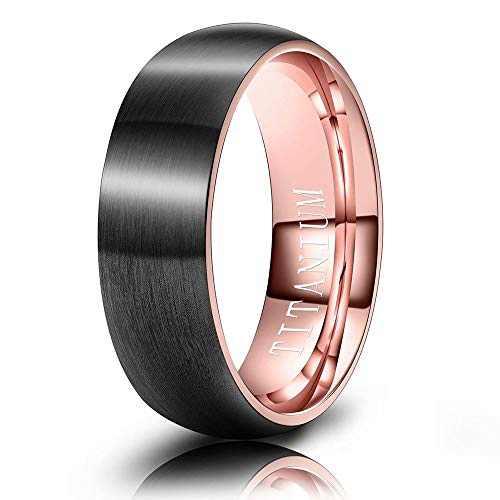 M MOOHAM Mens Wedding Bands Black and Rose Gold 6mm Titanium Rings Matte Brushed Wedding Bands for Him Size 6