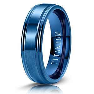 M MOOHAM 6mm Titanium Rings Blue Mens Wedding Band Brush Center Step Edge Wedding Bands for Men Size 7