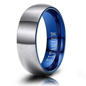 M MOOHAM Mens Wedding Bands Silver and Blue 6mm Titanium Rings Matte Brushed Wedding Bands for Men Size 5